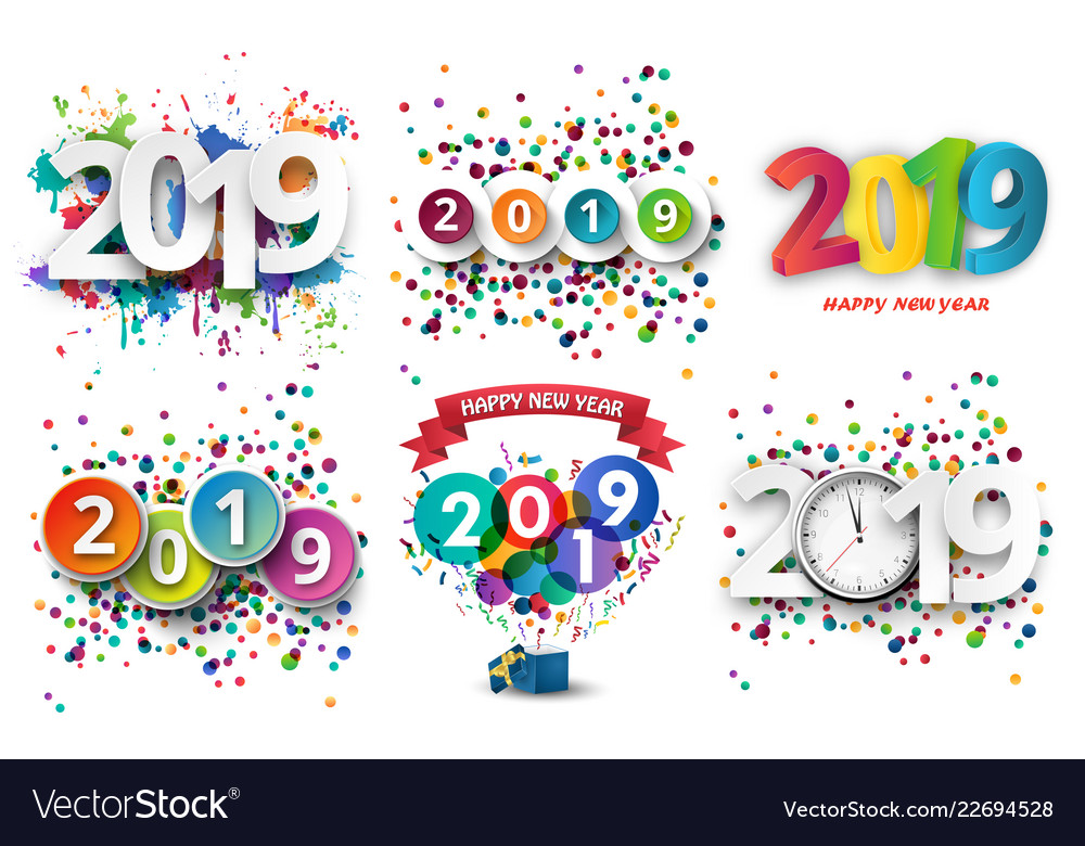 Happy new year 2019 celebration with colorful