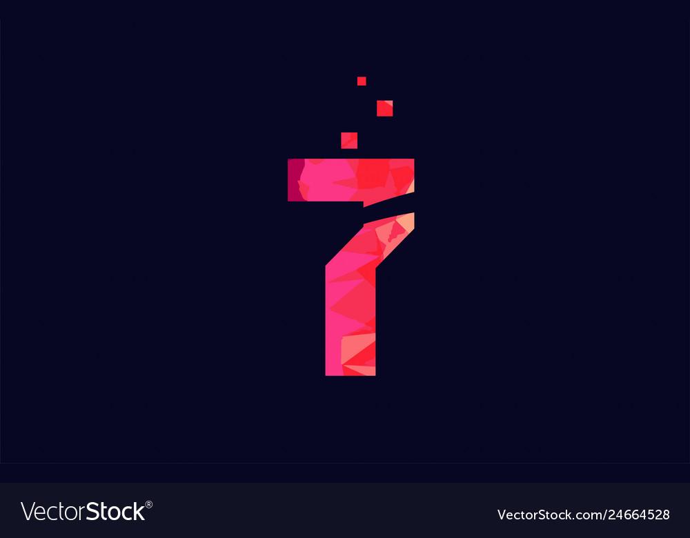 Pink blue background color number 7 for logo icon