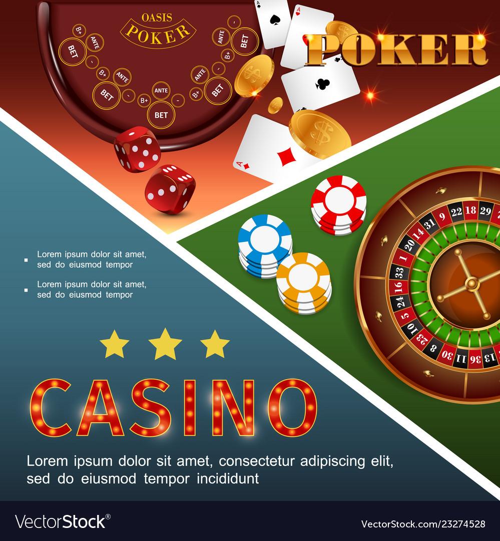 Realistic casino colorful concept