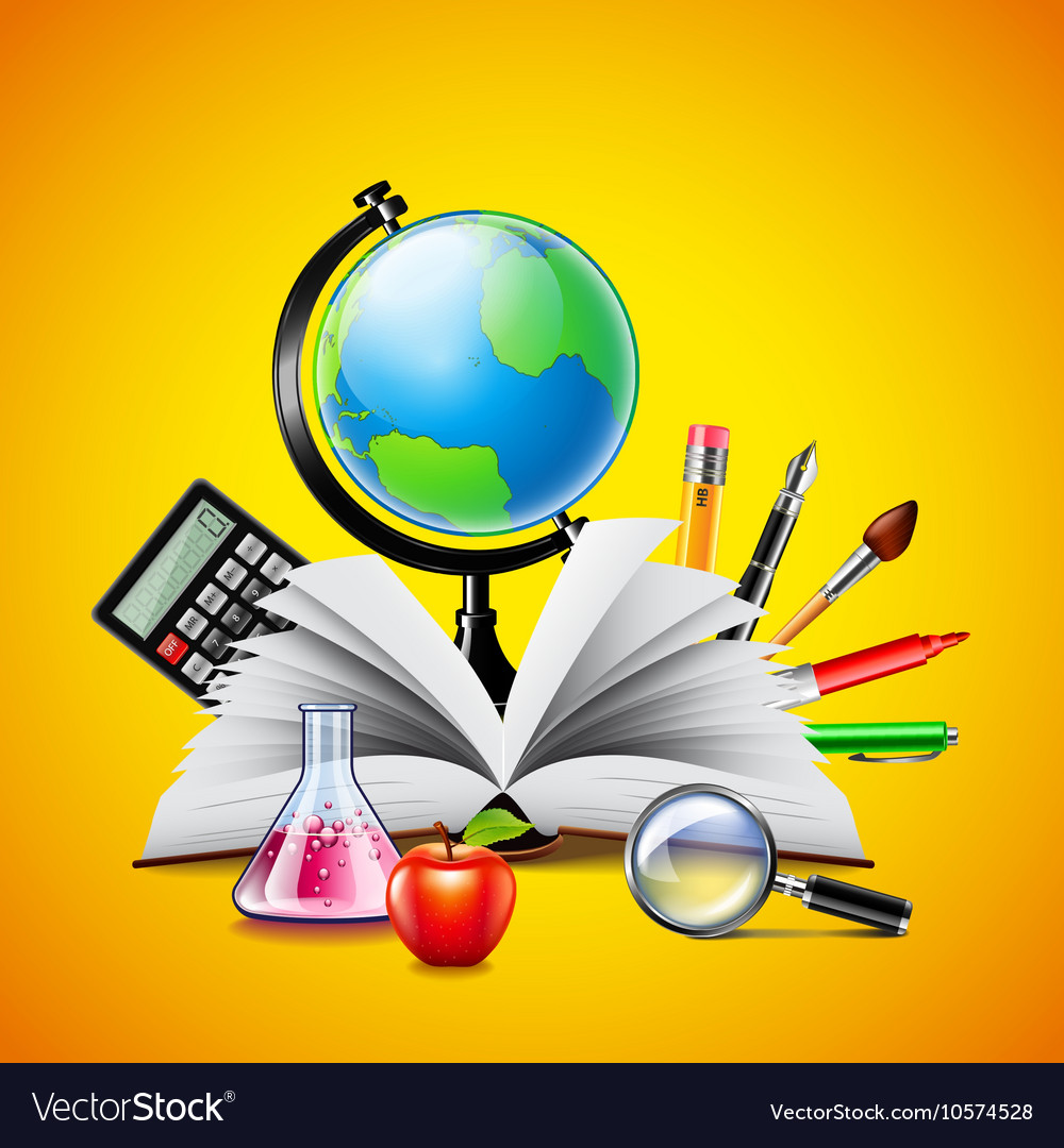 School concept with opened book and tools on