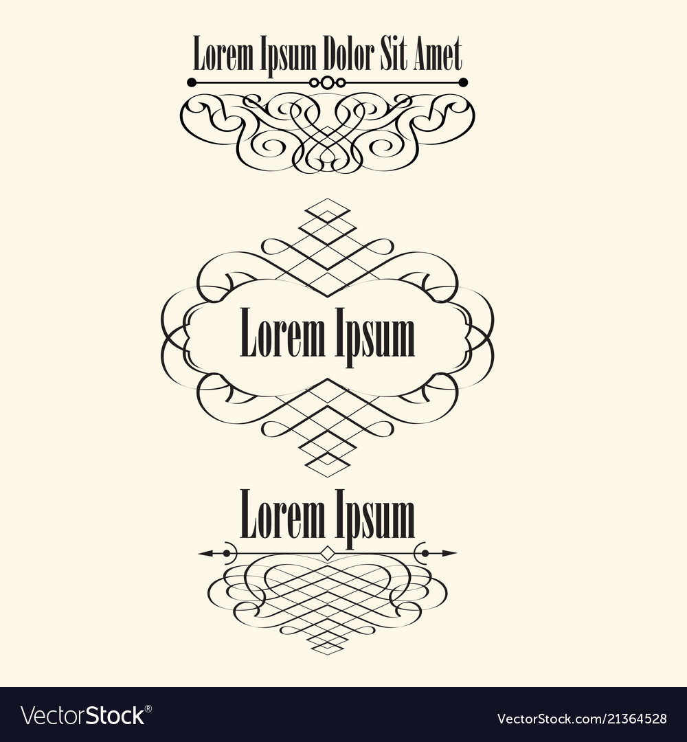 Set of calligraphic borders frames with space for
