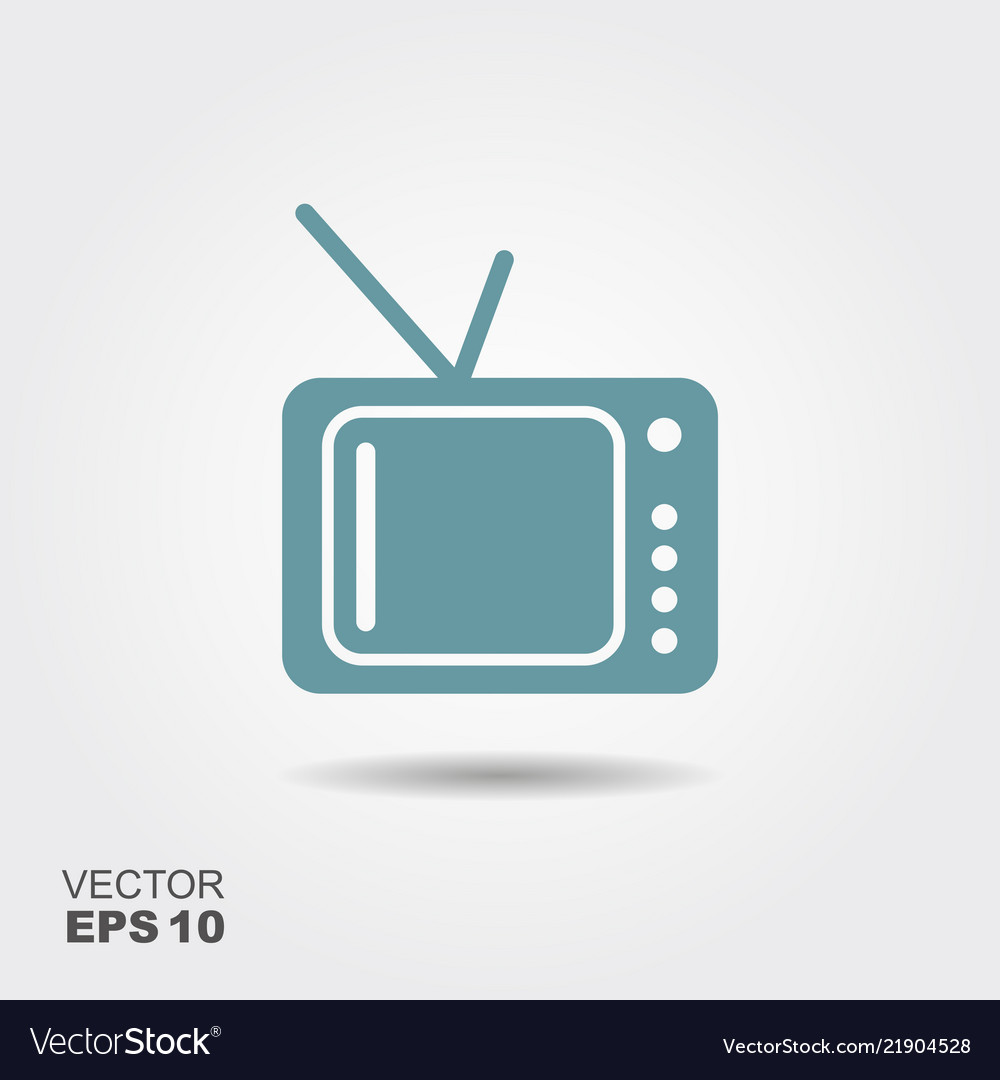 Tv icon in flat style isolated on grey background