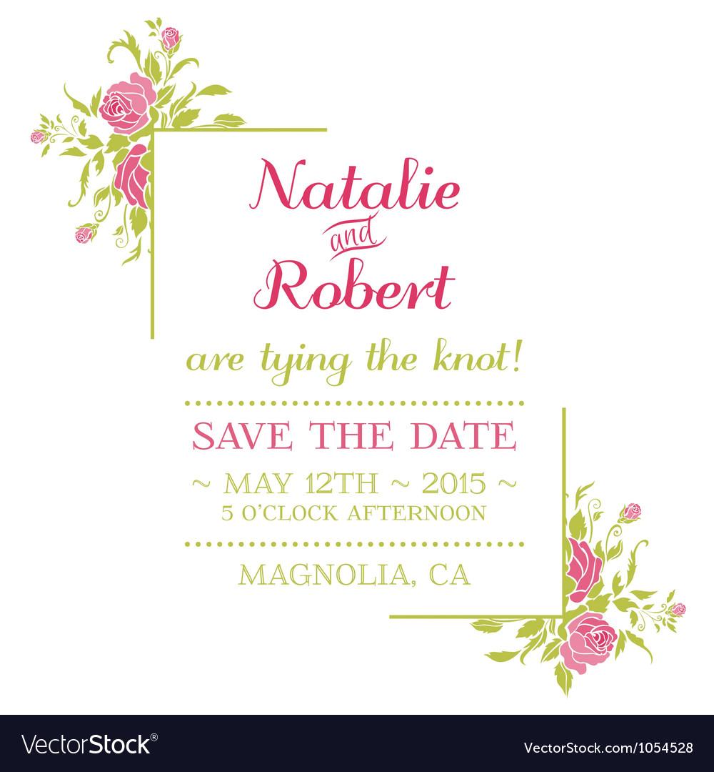 wedding invitation card flower theme royalty free vector