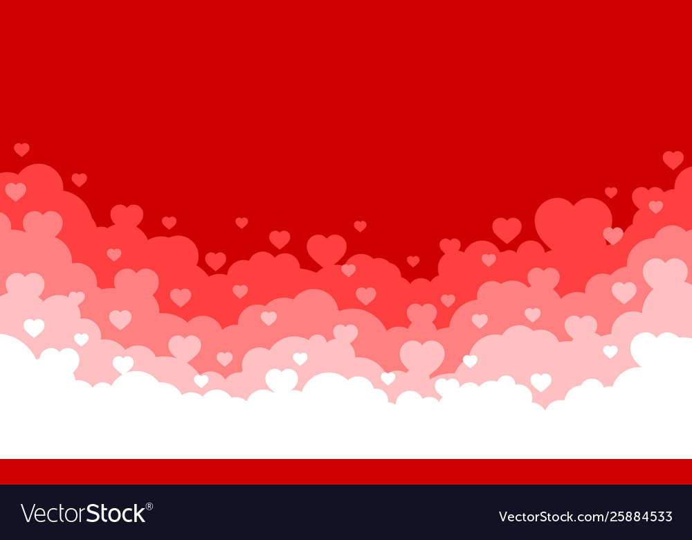 Cloudy sky with red hearts background valentines