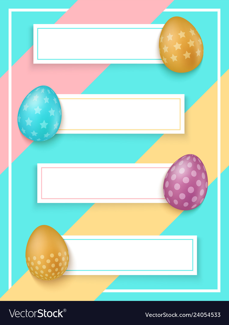 Colorful easter eggs with banners easter sale