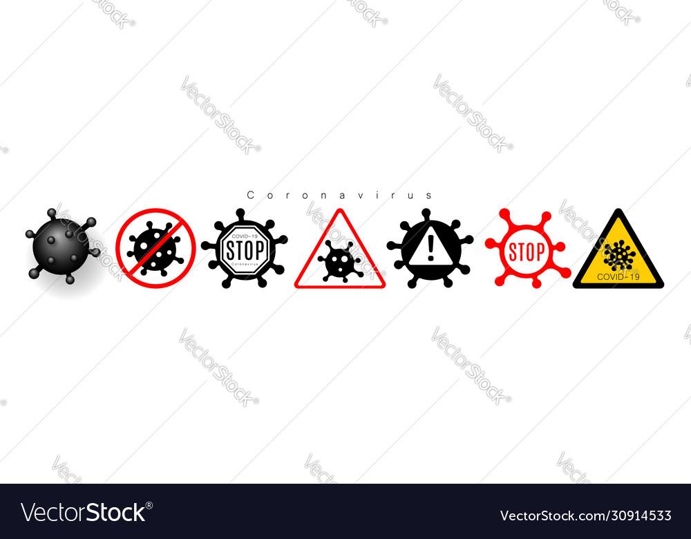 Coronavirus 2019-ncov corona virus icons warning