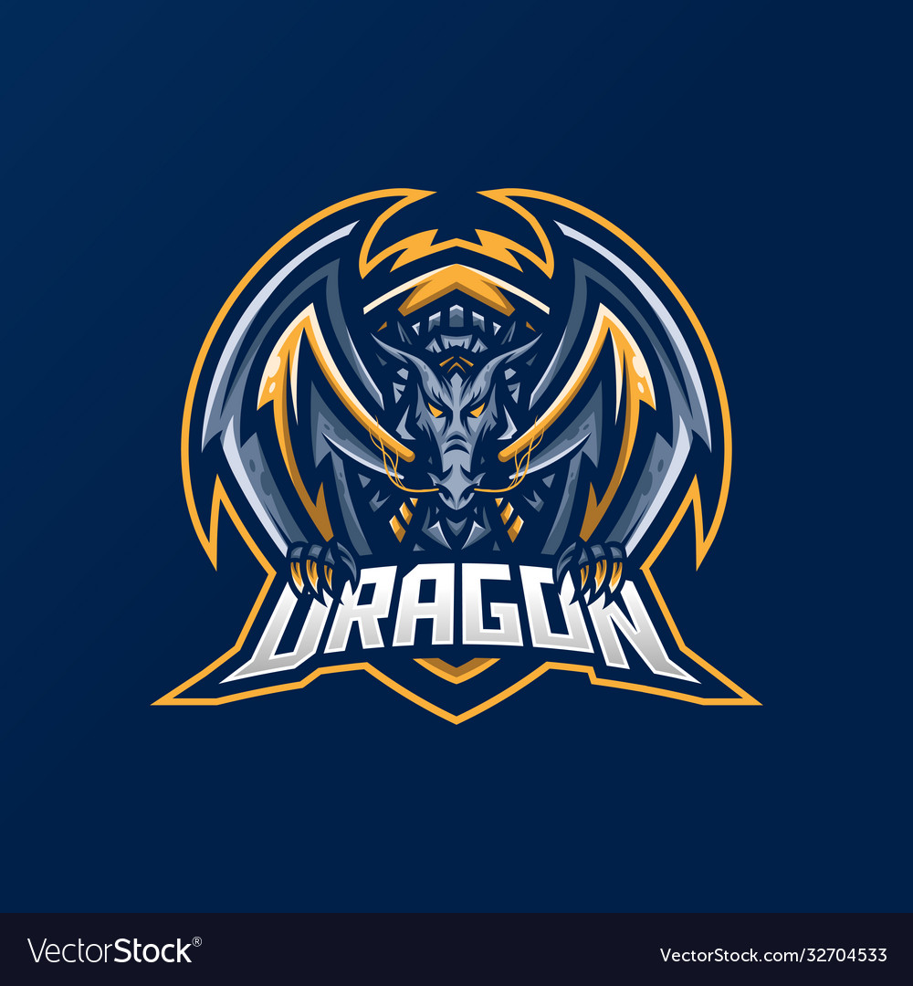 Dragon esport gaming mascot logo template