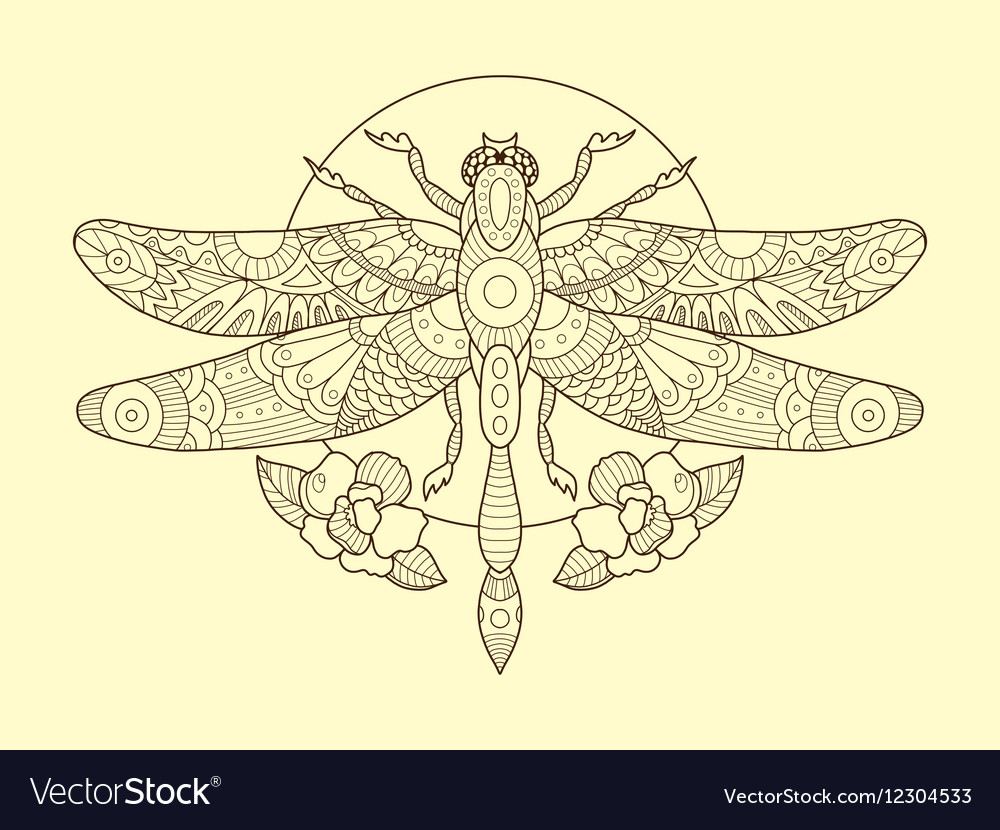 dragonfly color drawing royalty free vector image