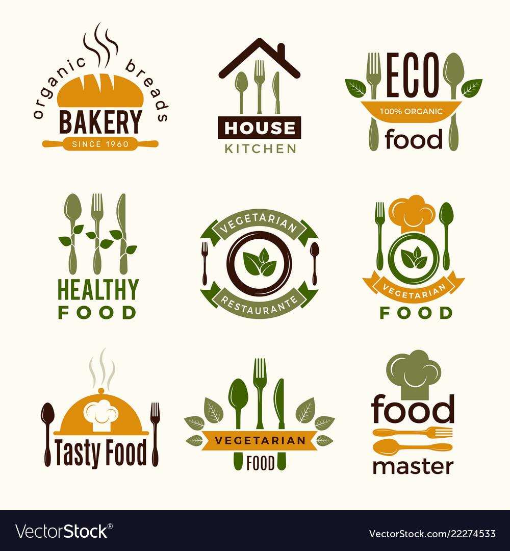 Food logos healthy kitchen restaurant buildings