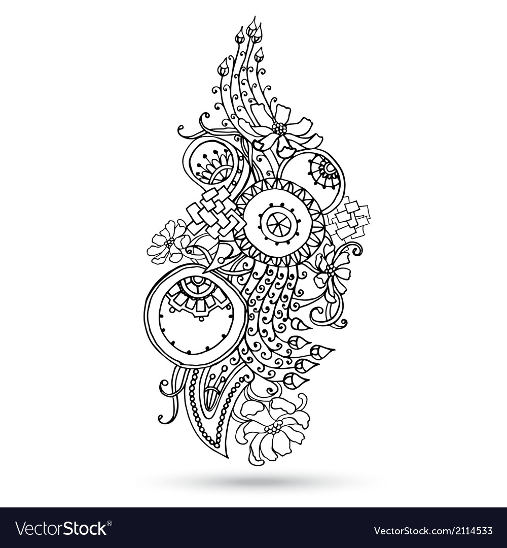 Henna Paisley Mehndi Abstract Element