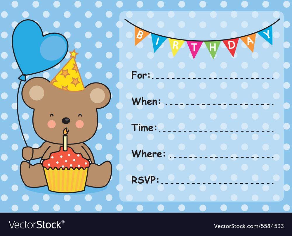 Invitation card birthday boy Royalty Free Vector Image