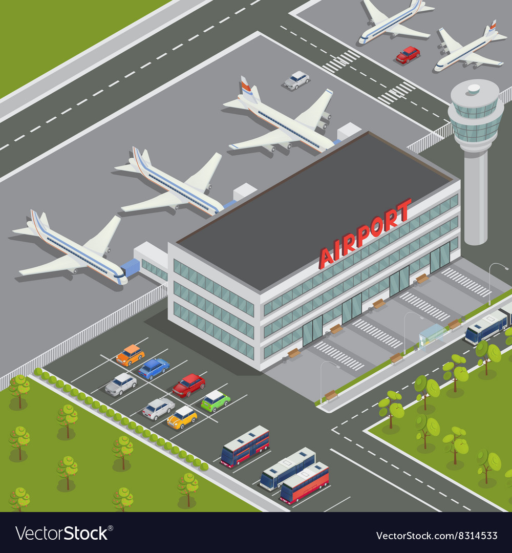 Isometric Airport Building with Airplanes