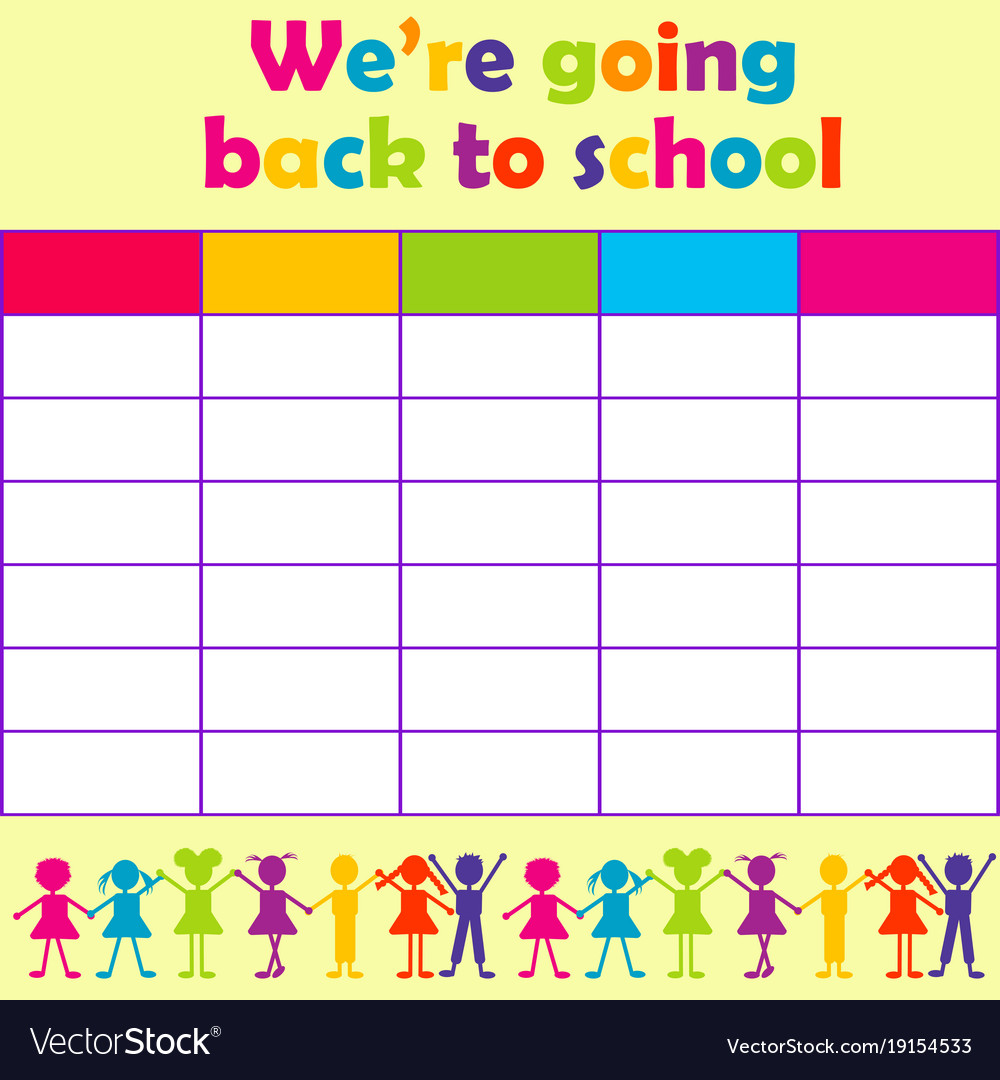School Timetable With Stylized Kids Royalty Free Vector