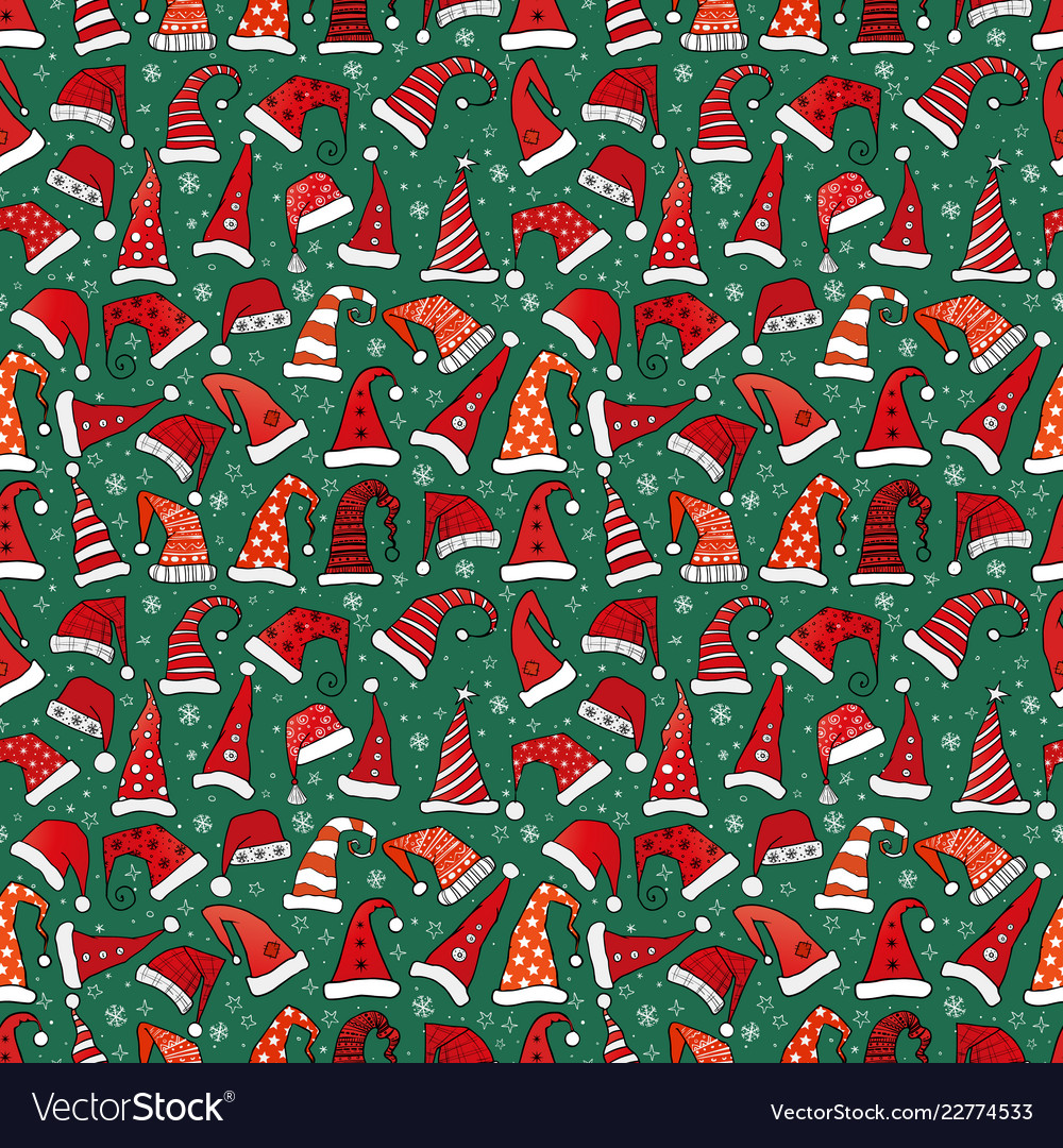 Seamless pattern with red christmas santa hats on