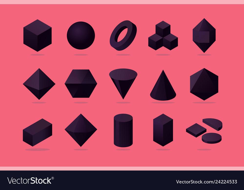 Set 3d object basic polygone shapes isometric