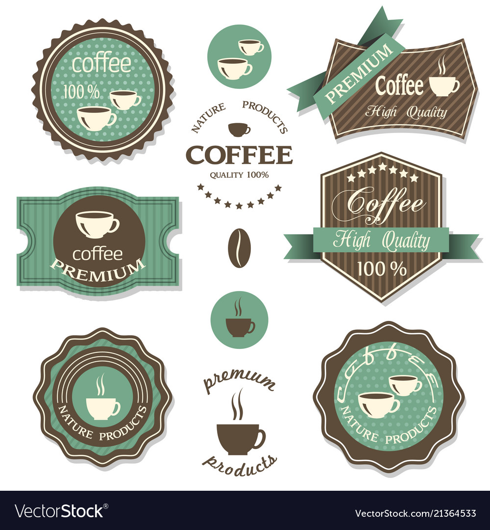 Set coffee iconslabels posters signs banners