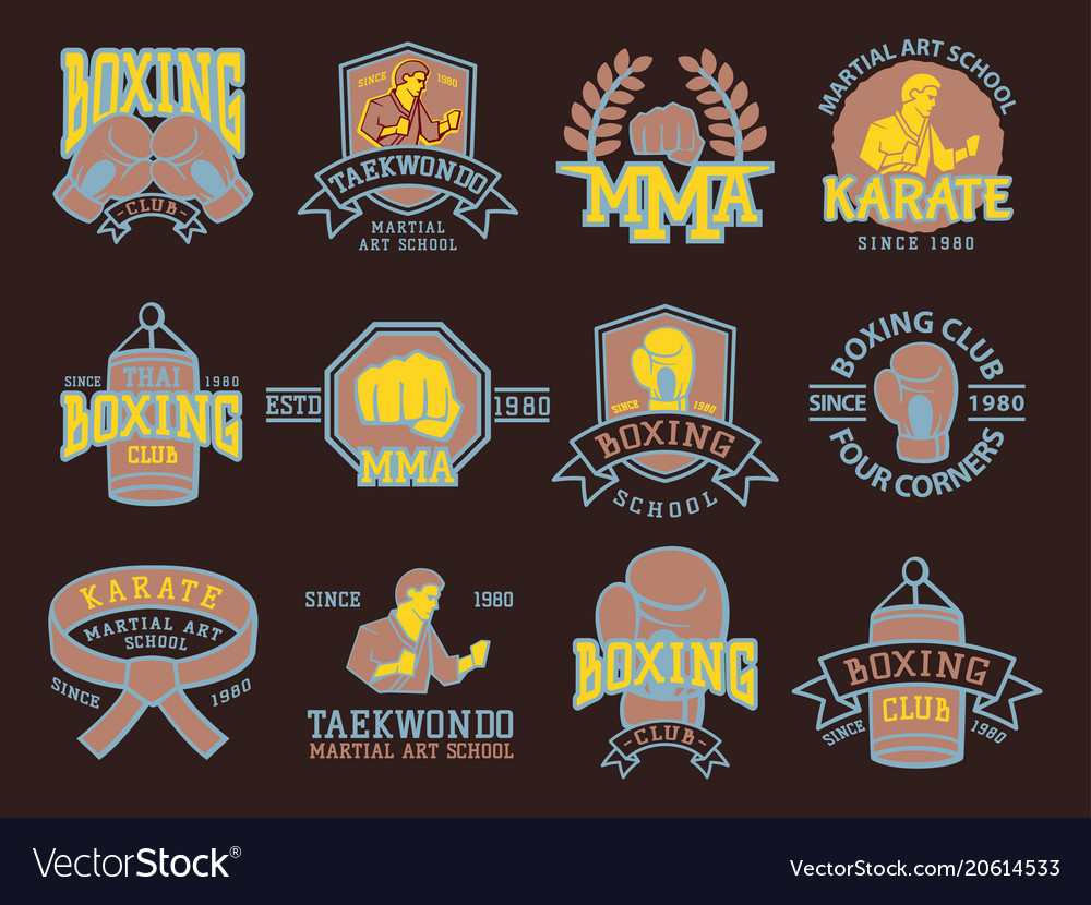 Set of cool fighting club emblems martial training