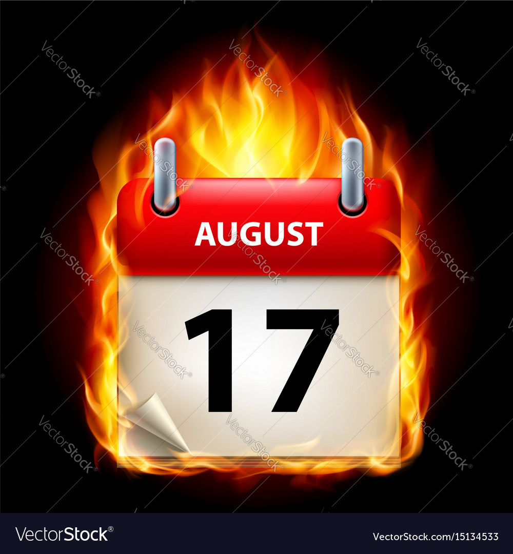 Seventeenth august in calendar burning icon on