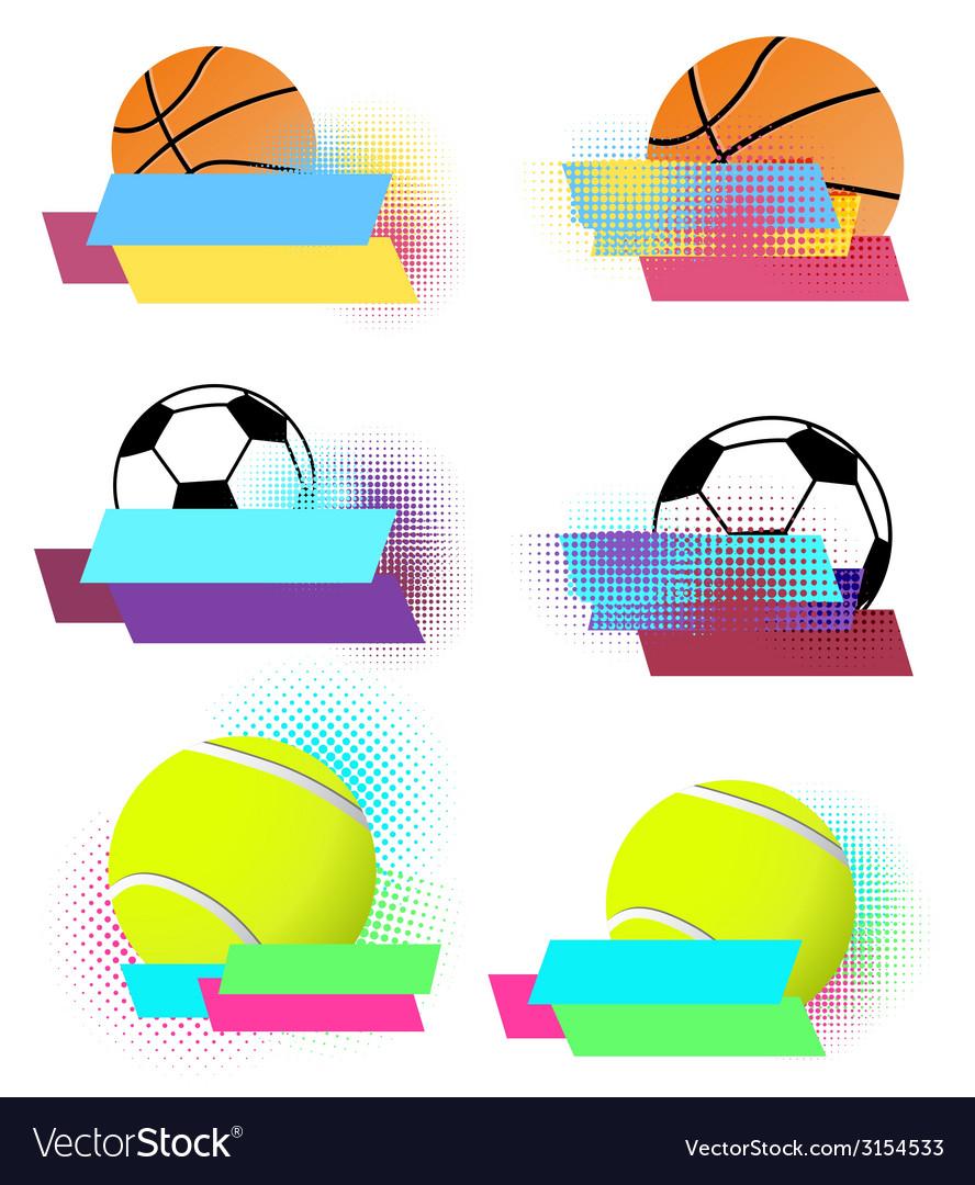 Sport balls banners set