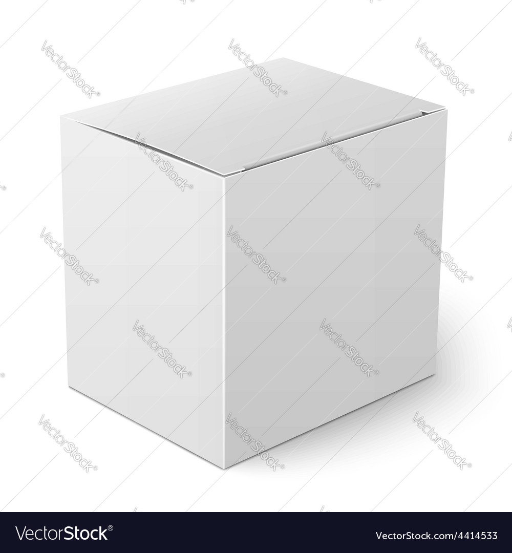 Paper Box Template | White Paper Box Template Royalty Free Vector Image