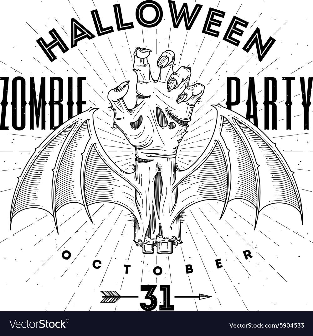 Zombie hand - halloween line art