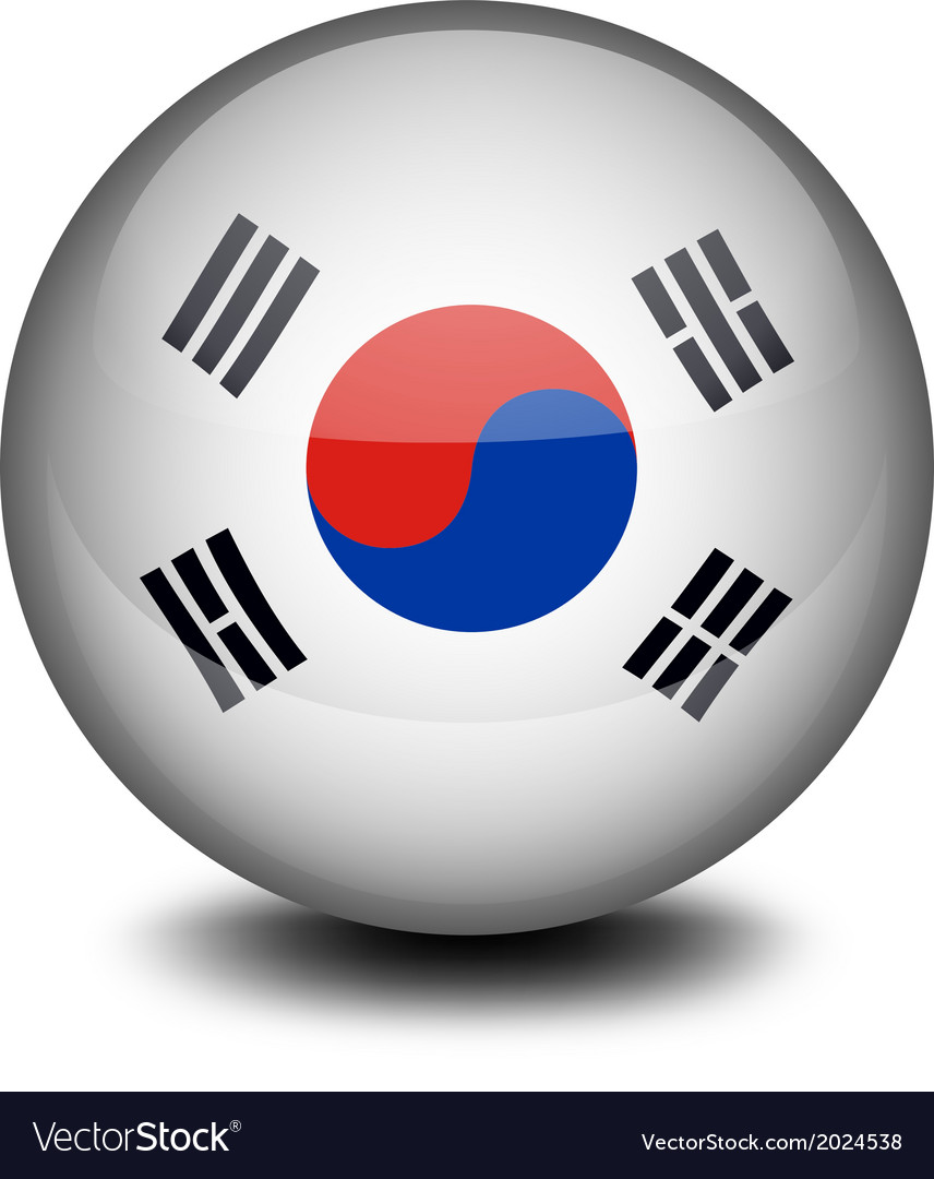 a ball with the south korean flag royalty free vector image
