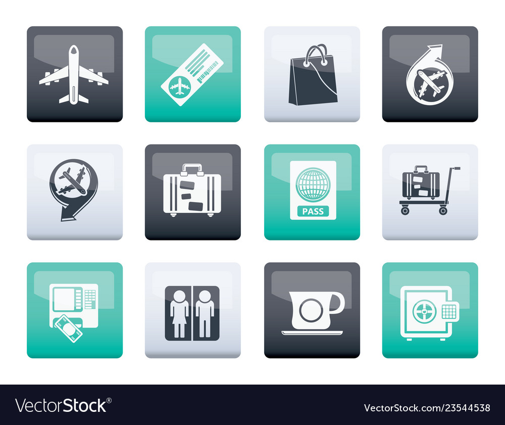 Airport travel and transportation icons 1