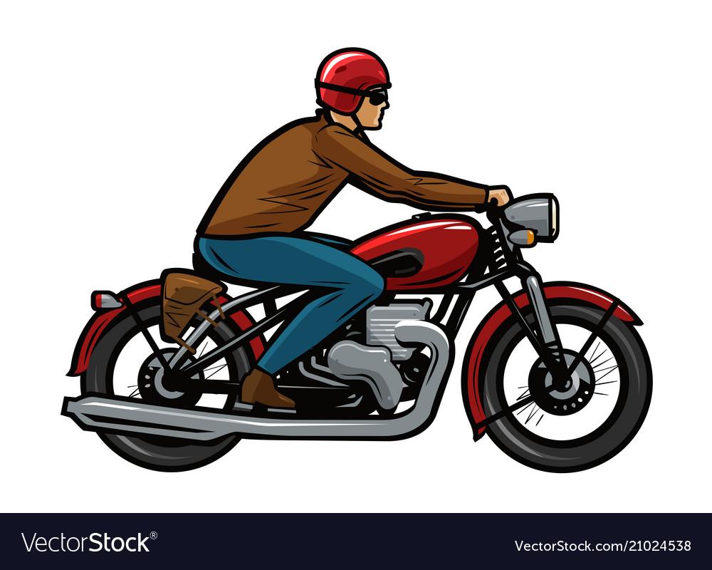 Biker riding a motorcycle cartoon