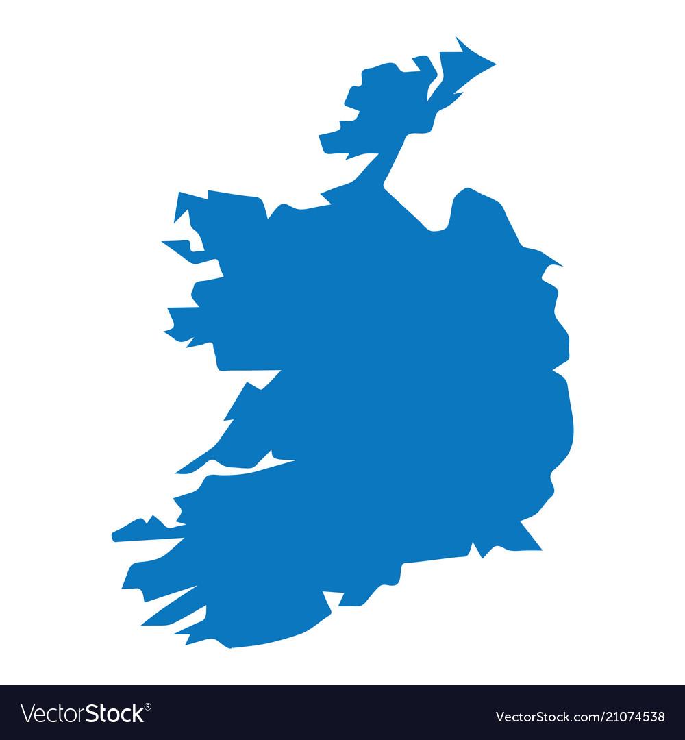 Blank Map Of Ireland.Blank Blue Similar Ireland Map Isolated On White B