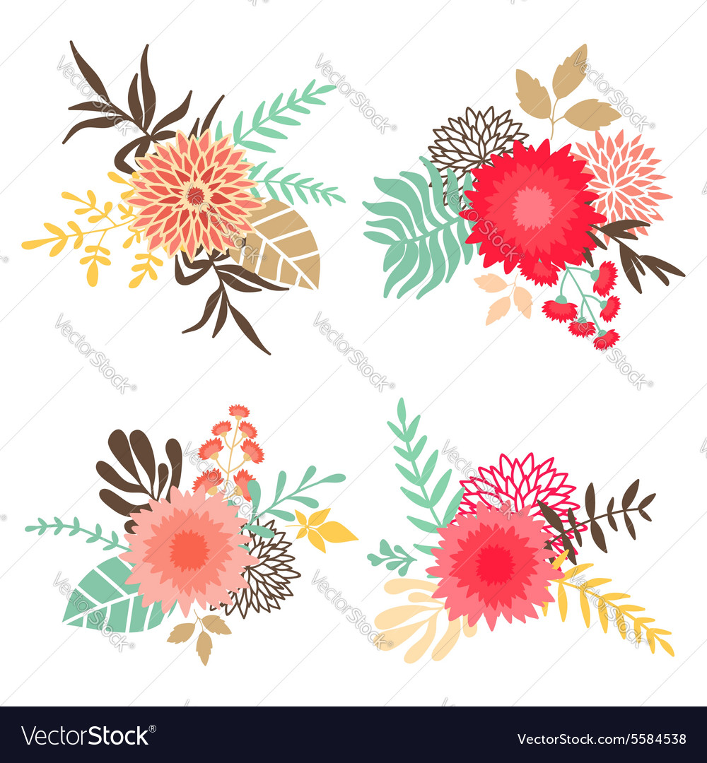 Collection of bouquets with flowers and leaves