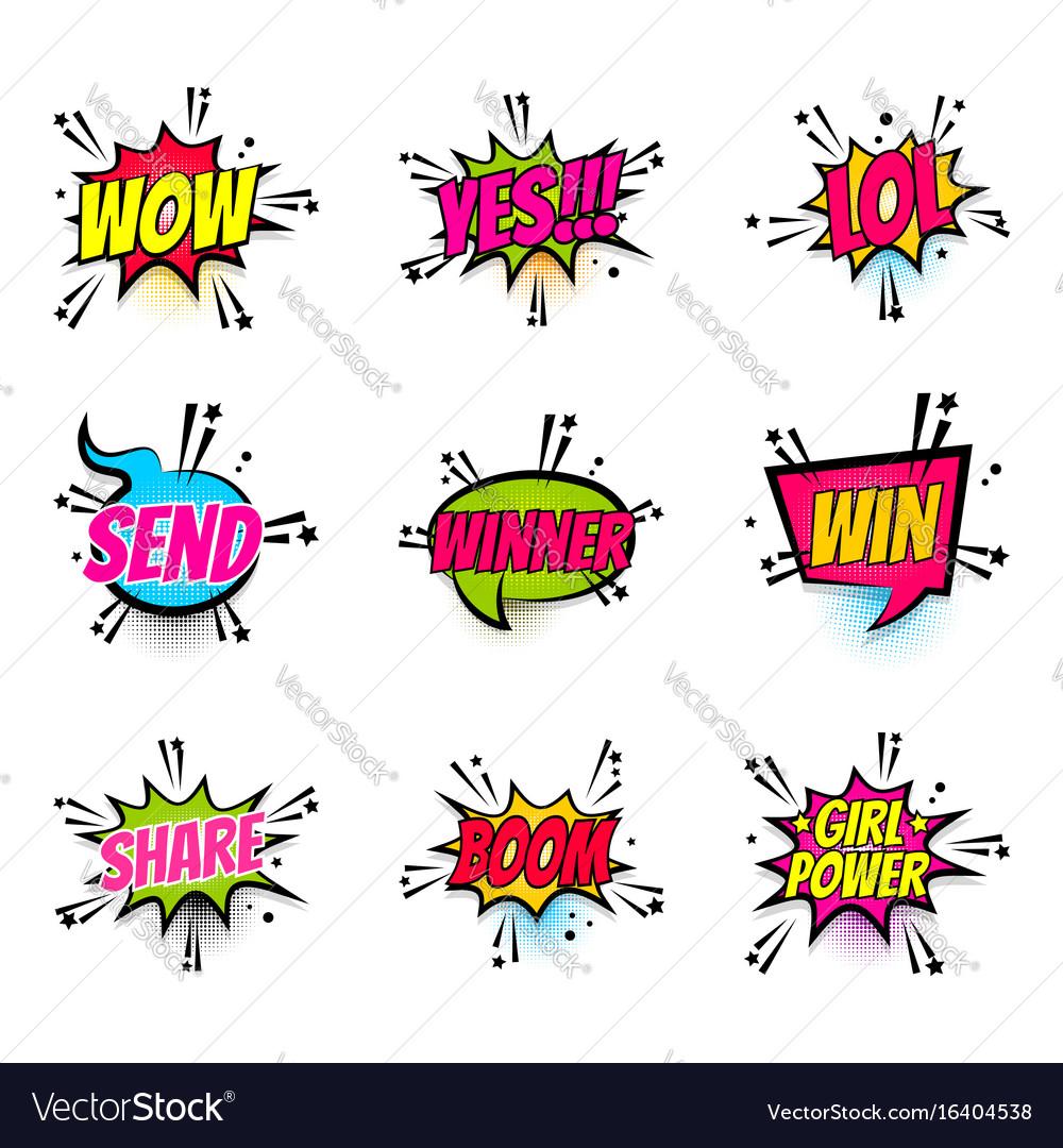 Comic text speech bubble pop art set girl power