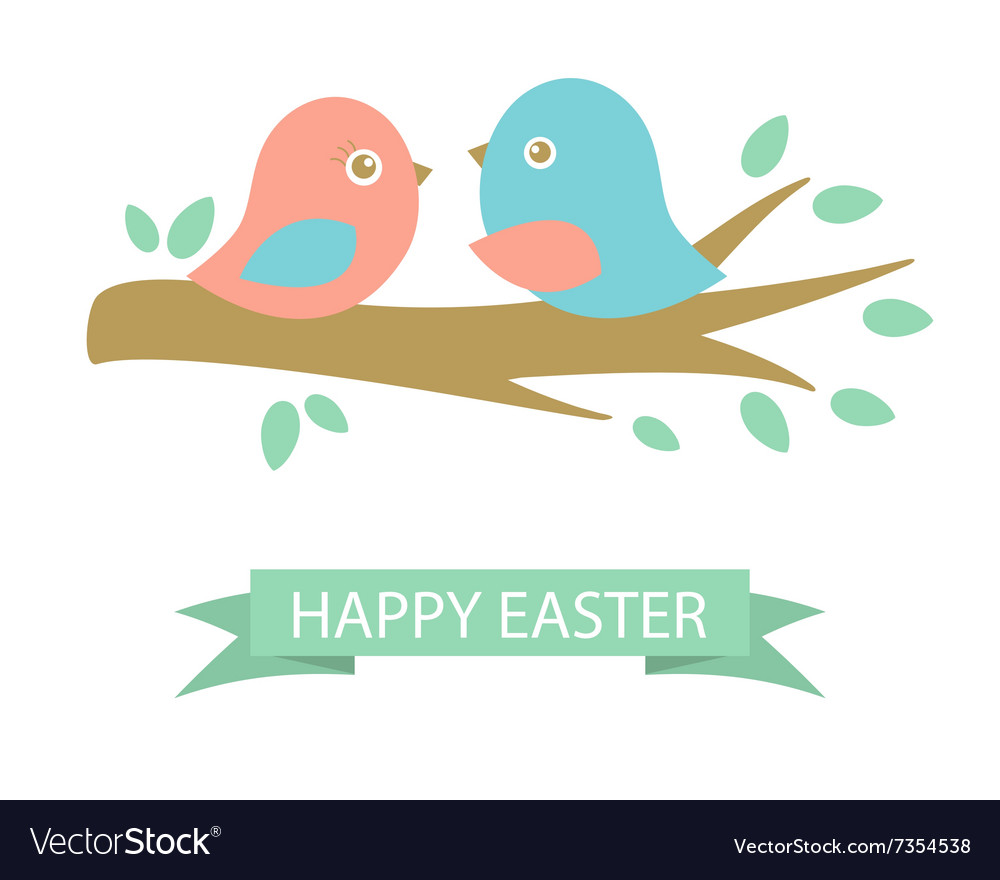 Cute easter card with two birds on the cherry tree vector image