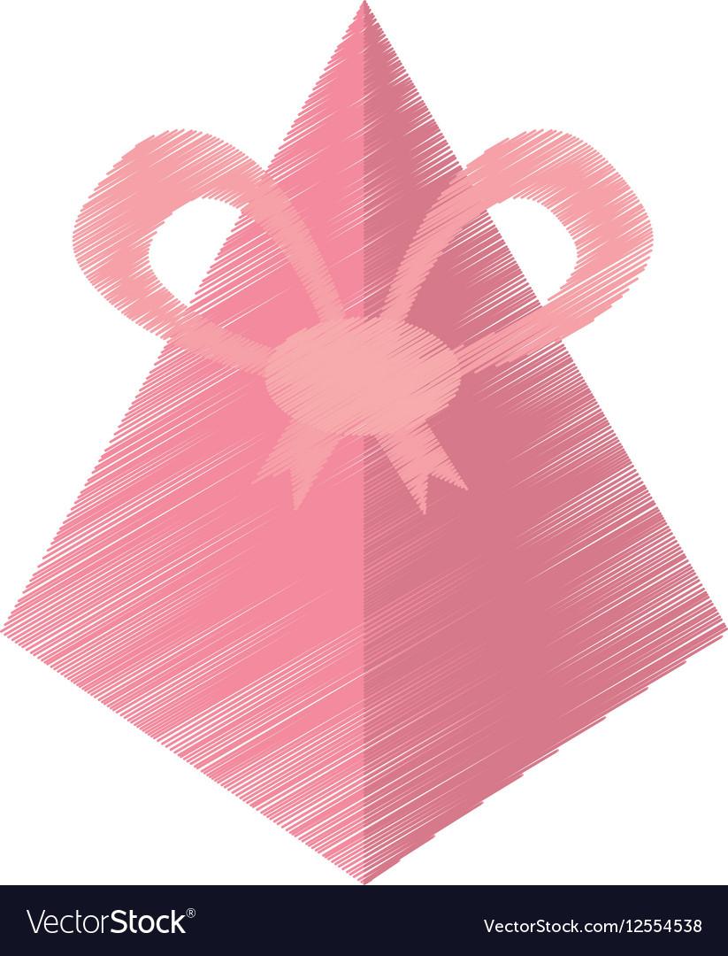 Drawing pink gift box pyramid bow
