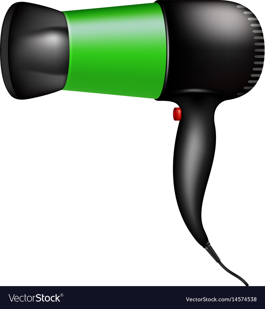 Electric hair dryer in green design