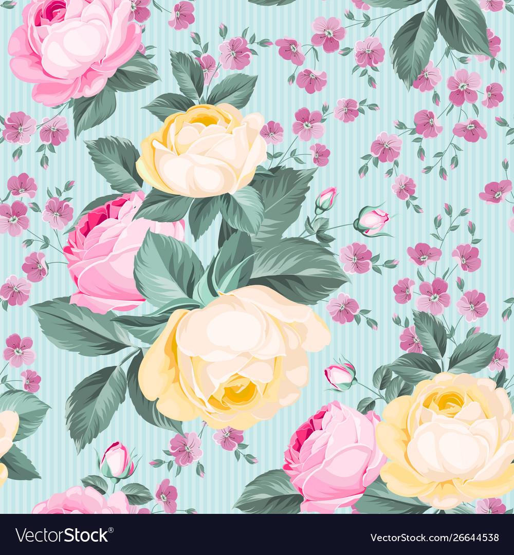 Elegant seamless rose pattern on white background