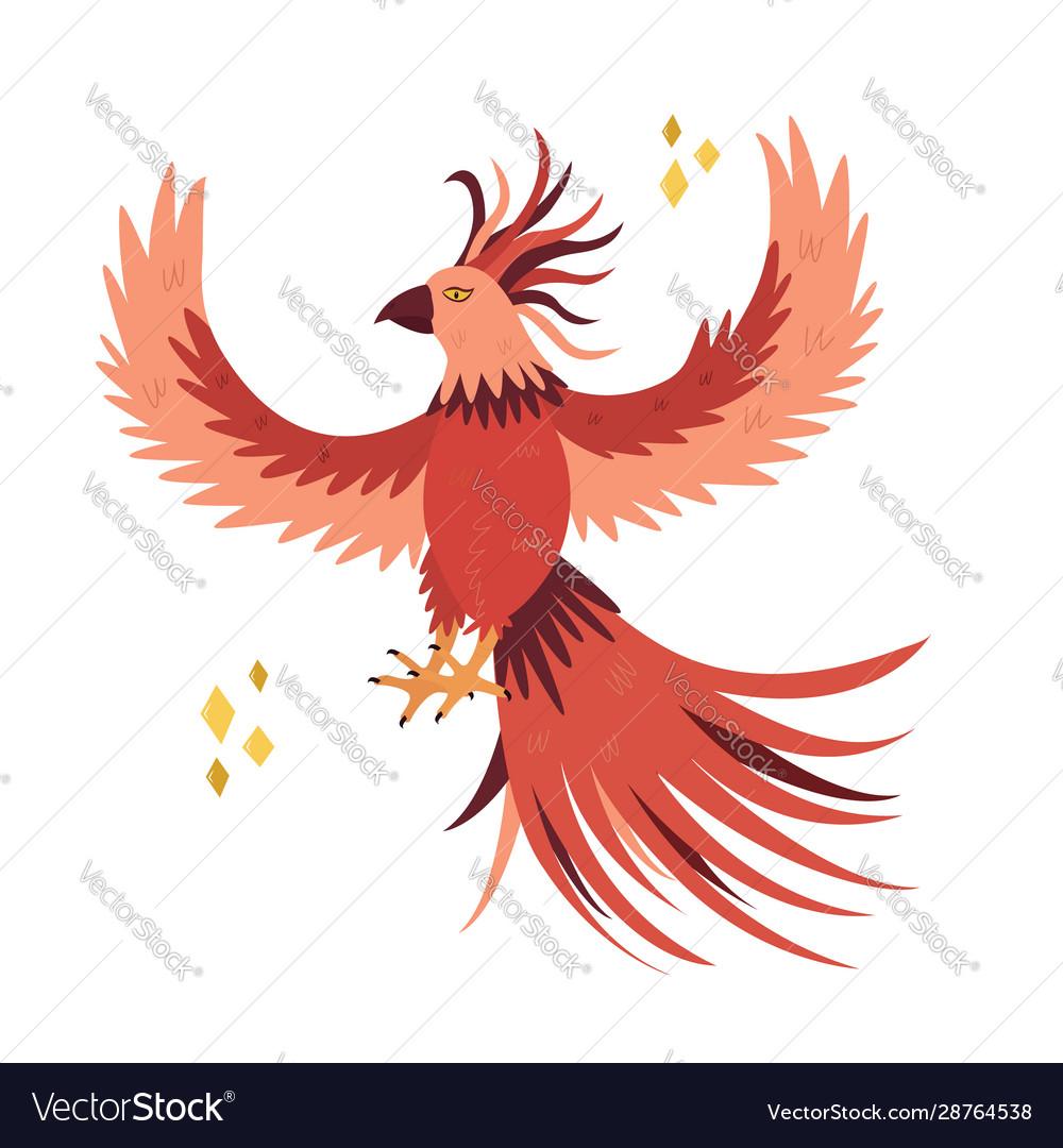Fantastic bird phoenix in a flat style