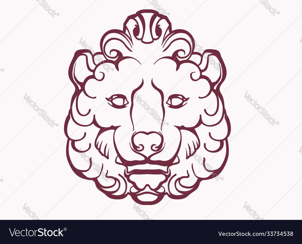 Image a stylized lion head