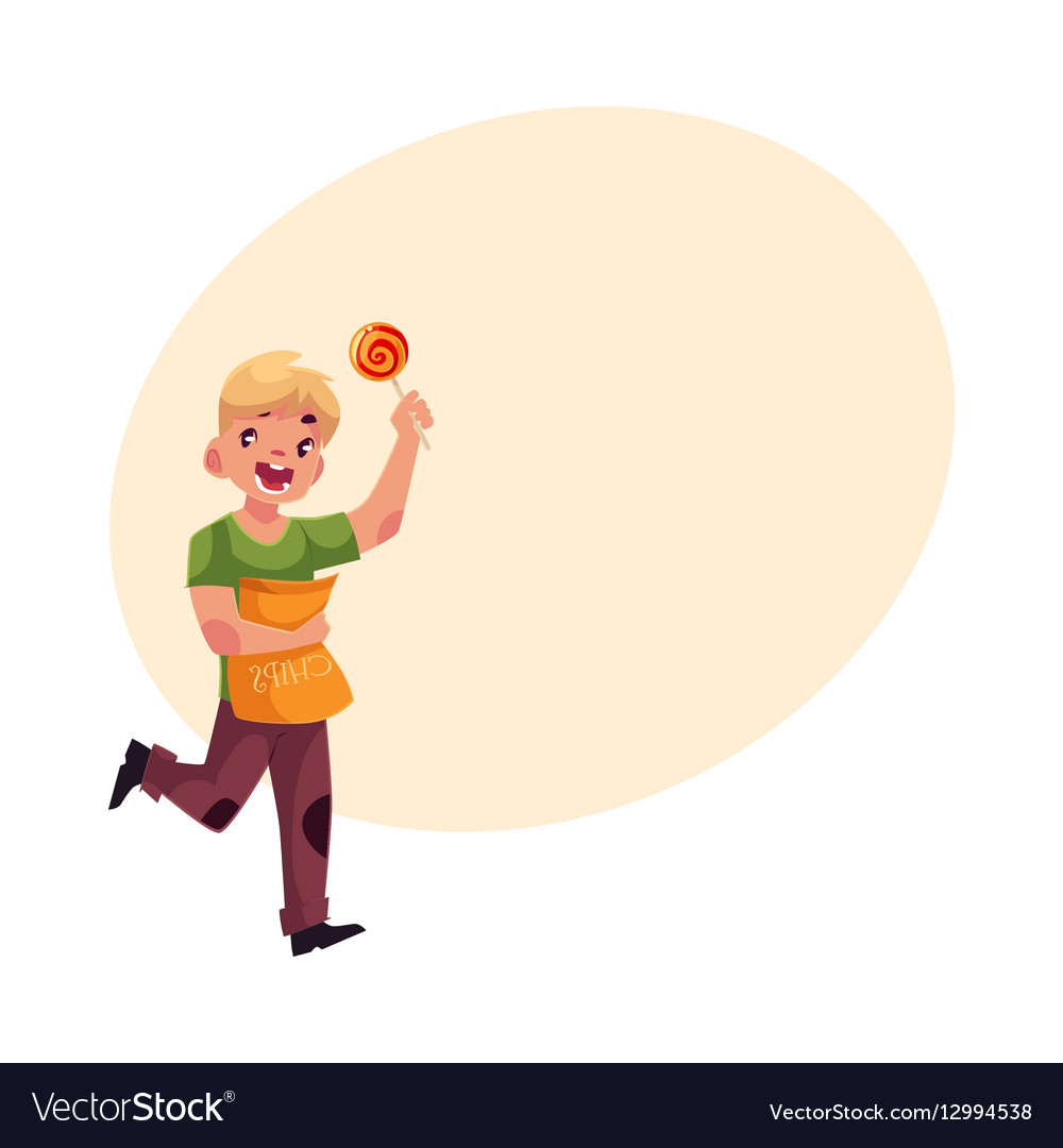 Little blond boy running with pack of chips and vector image