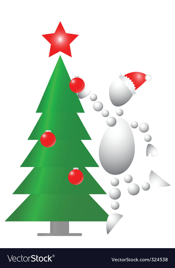 Man decorate Christmas fur tree