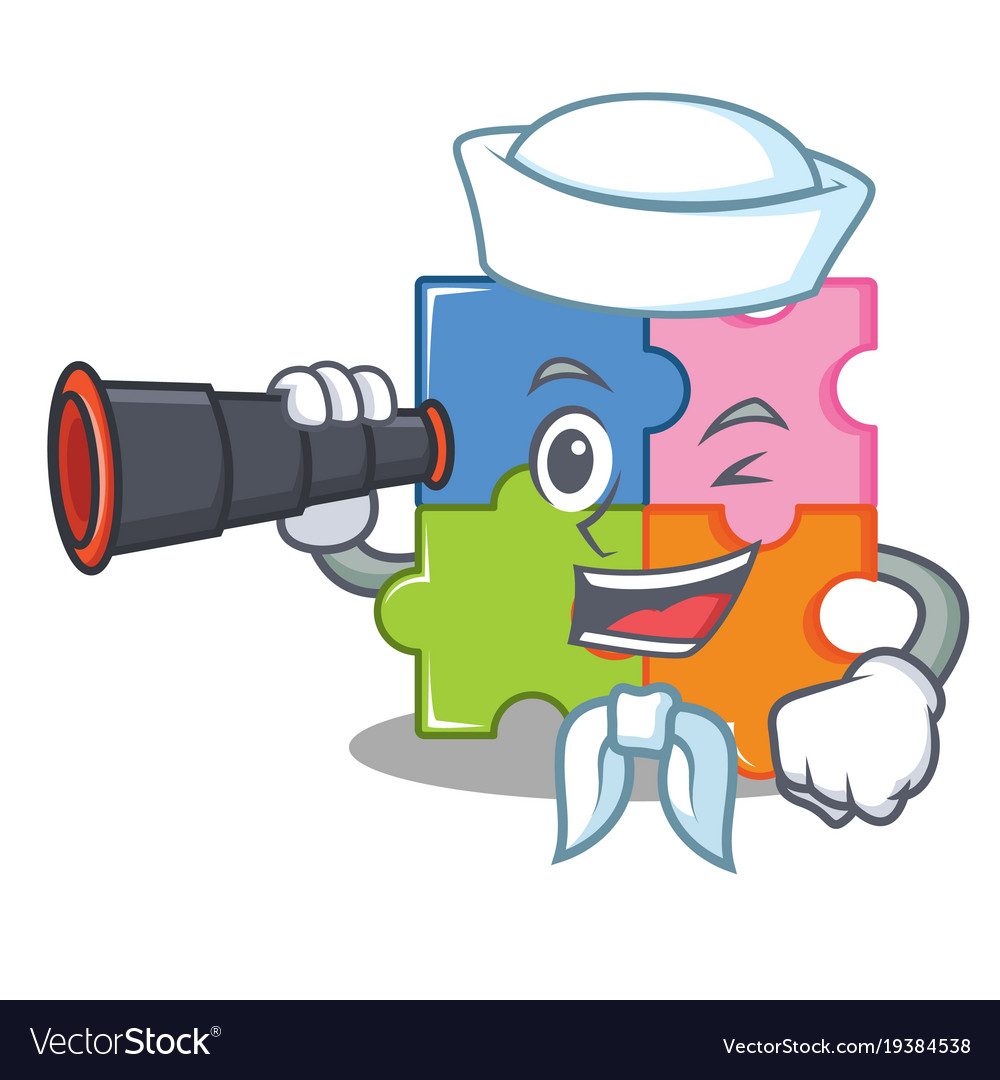 Sailor with binocular puzzle mascot cartoon style vector image