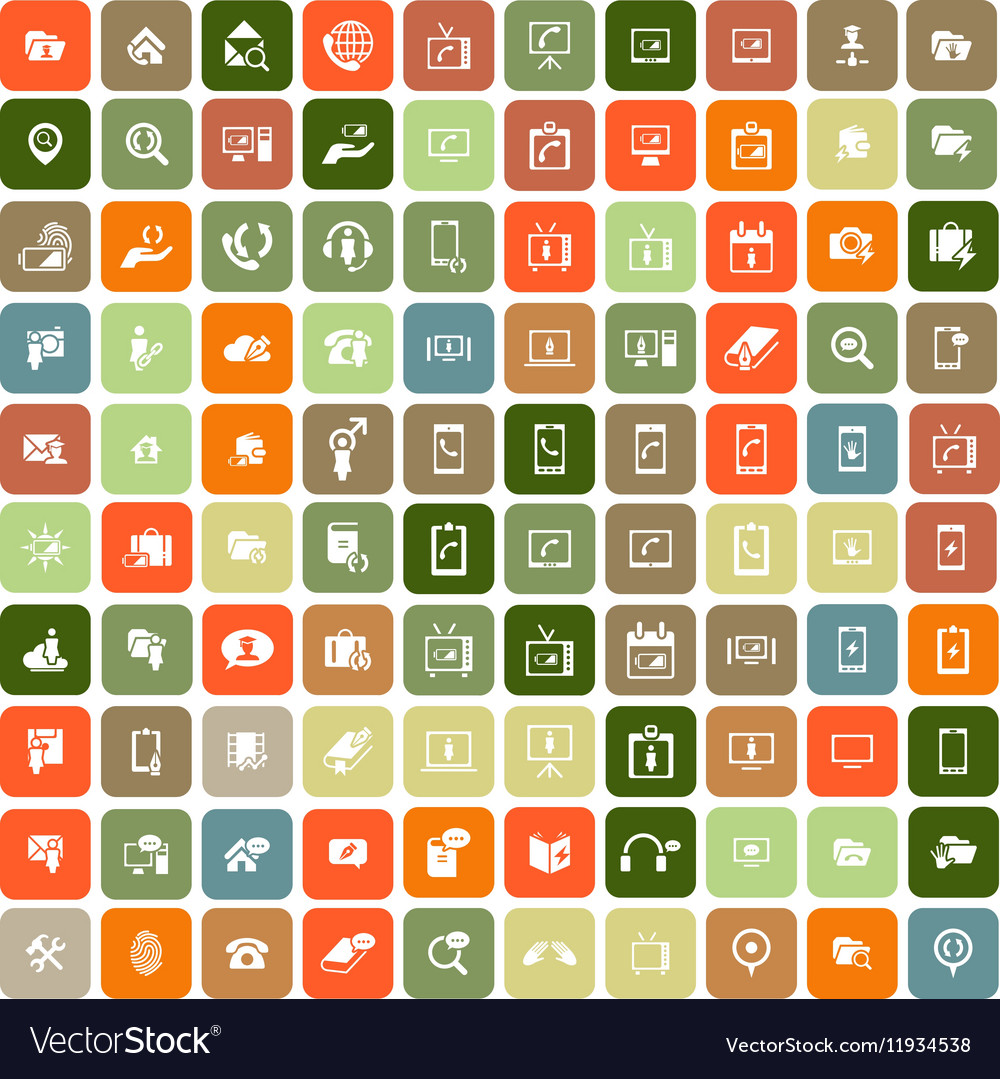 Set of 100 Universal Icons Simple Flat Style Busin