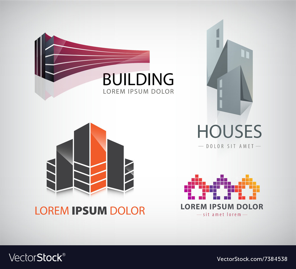 Set of building houses city town logos