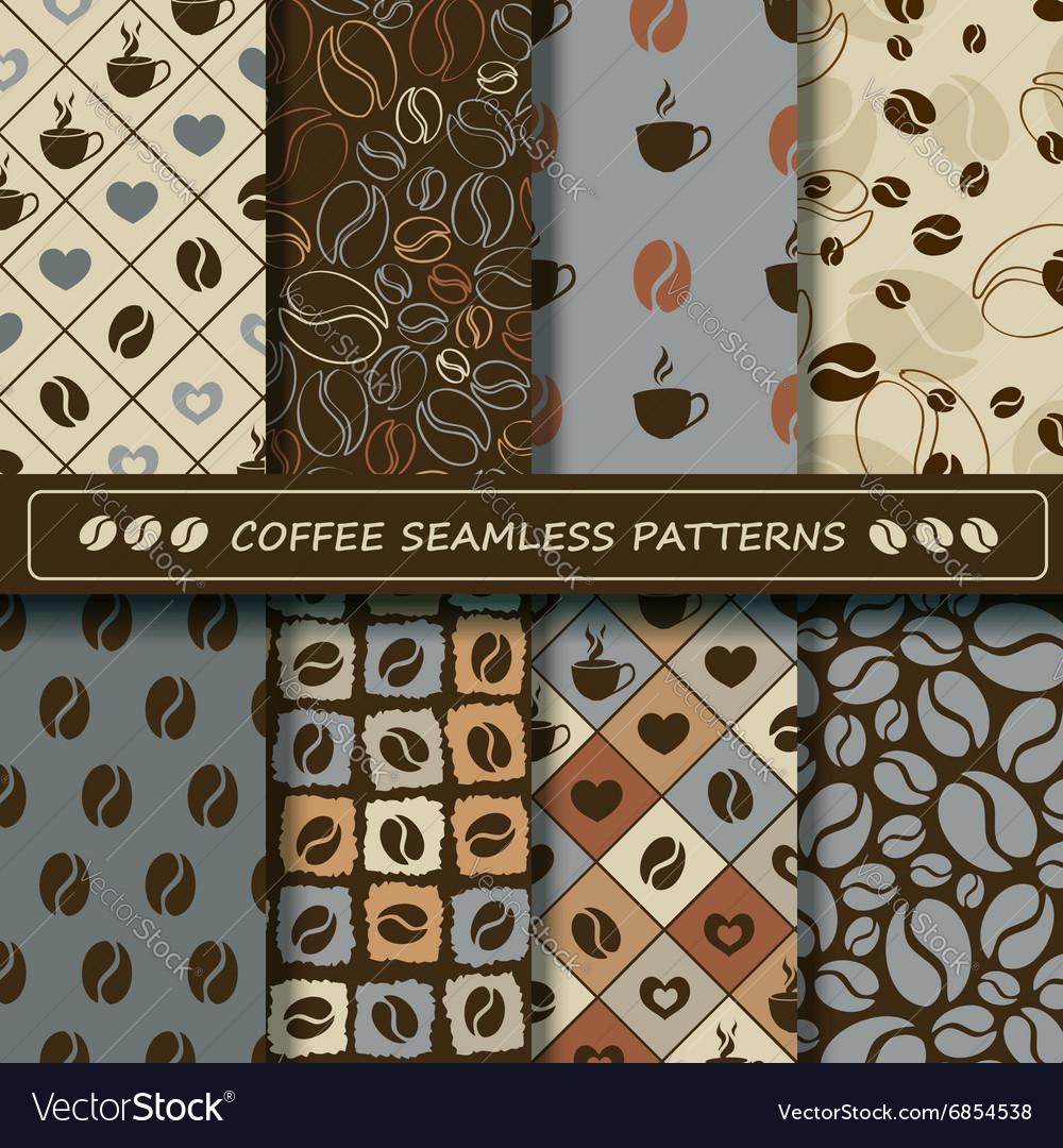 Set of coffee seamless pattern