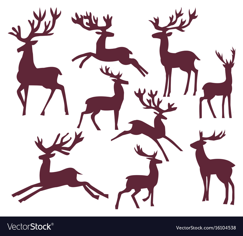 Set of silhouette deer character