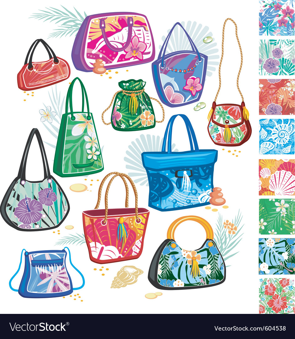 Summer Hand Bags on Summer Bags With Patterns Vector 604538 Jpg