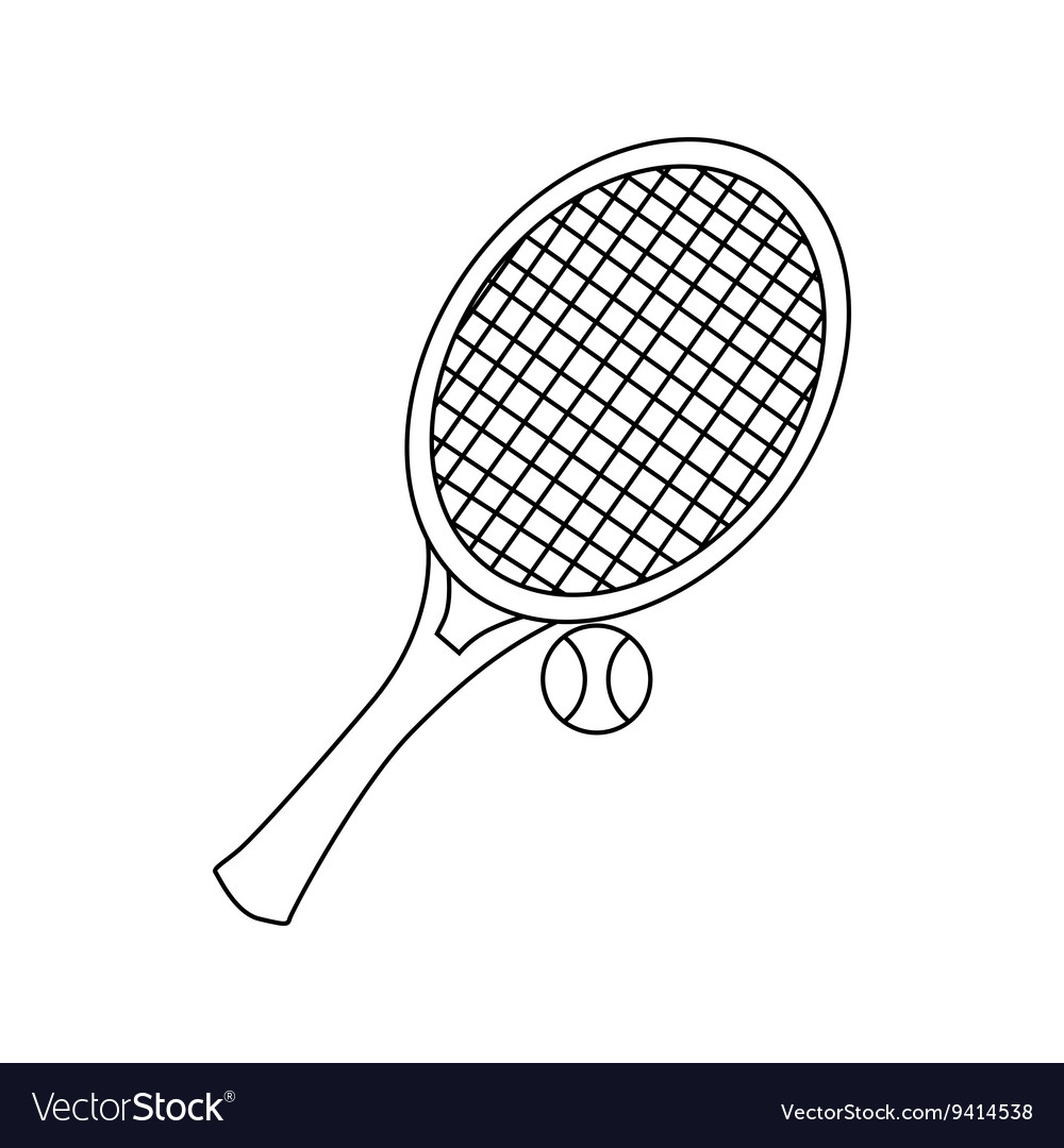 Tennis racket with tennis ball icon outline style vector image