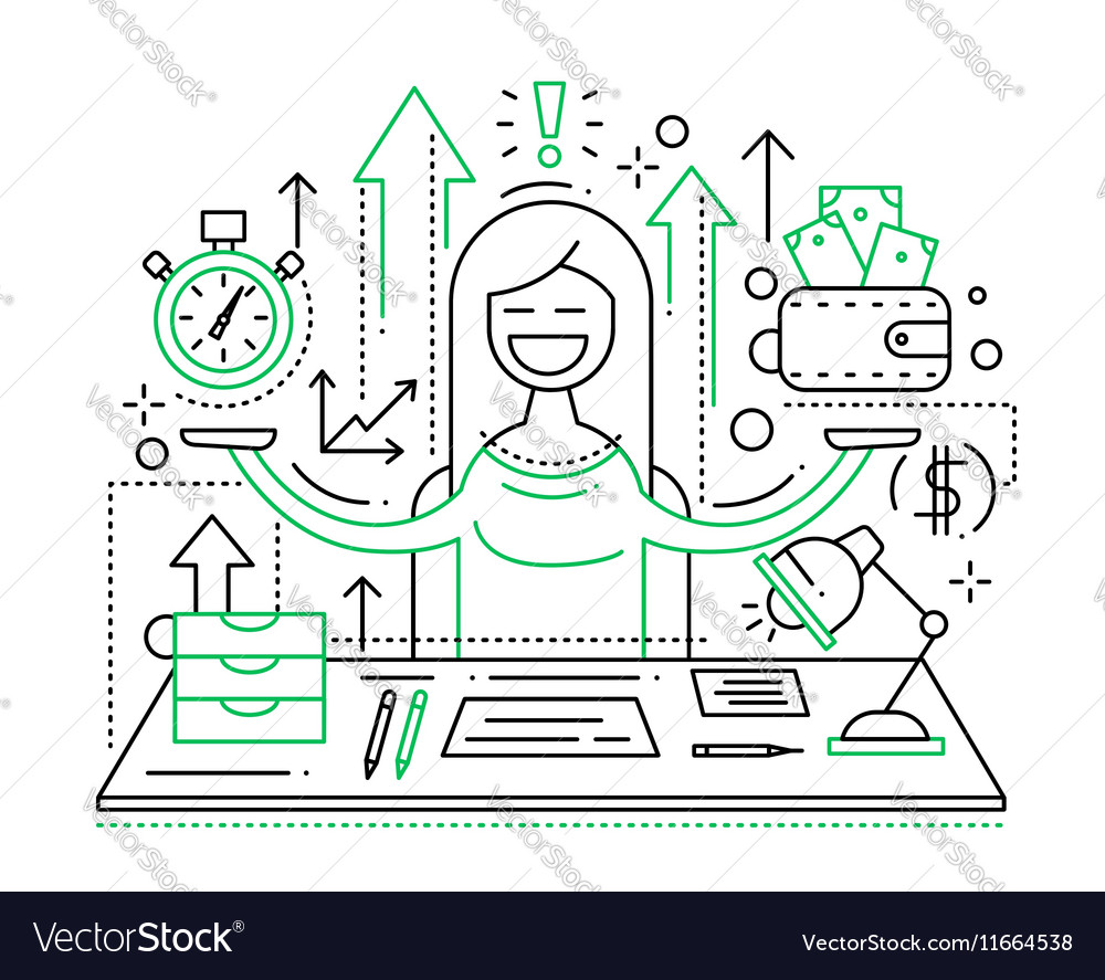 Time is money - line flat design vector image
