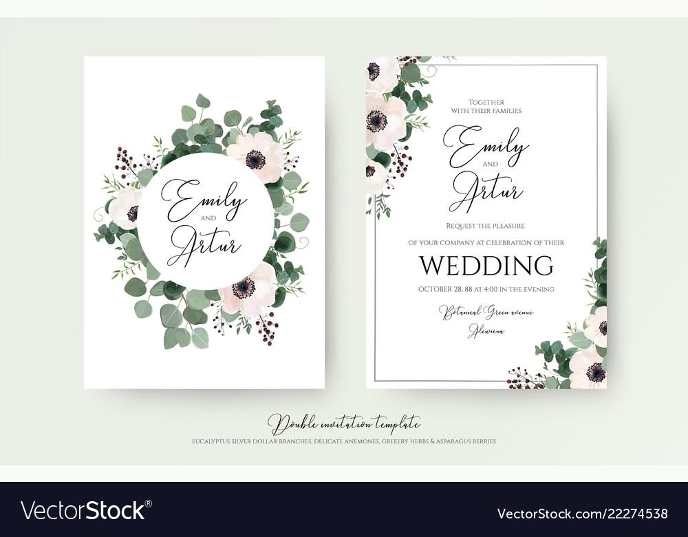 Wedding invitation floral invite modern cute card