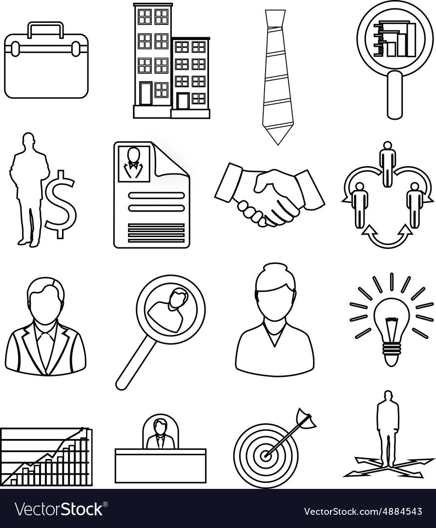 Business productivity icons set