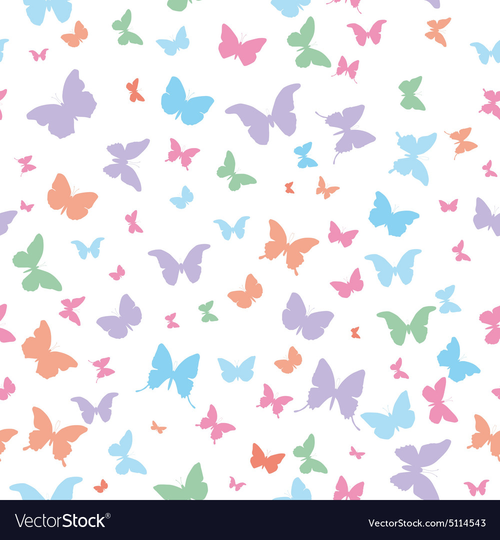 Butterflies pink lilac blue green isolated